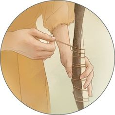 A person ties a twig to a stake