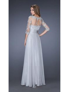 3/4 Length Sleeves Illusion Neckline Long Chiffon Lace Mother of The Bride Dresses 1603046