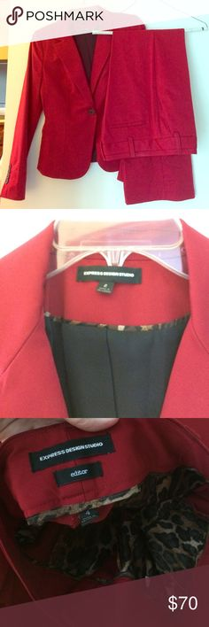 """Express red suit Express design studio red women's suit.  Jacket is size 2.  Pants are size 4.  Pant length tailored to fit height 5'4"""". Express Other"""