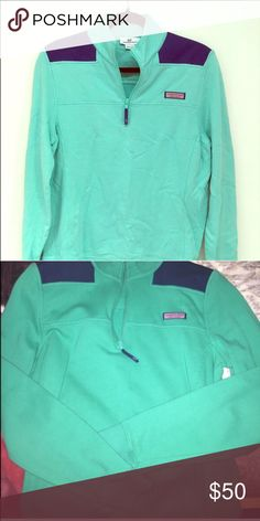 💚 Vineyard Vines Shep Shirt 💙 Perfect condition (like new) green and navy shep shirt. Women's size large. Smoke and pet free home. Thanks for looking! Vineyard Vines Jackets & Coats
