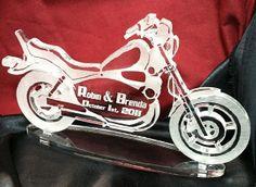 Motorcycle Biker Wedding Cake Topper engraved by CarolinaCarla, $68.88