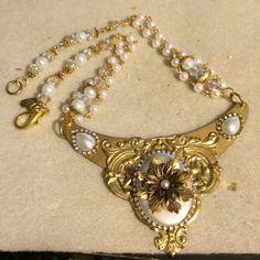Bridal Statement Necklace, Bridal Jewelry, Gold Tone Wedding Jewerly, Vintage Style Wedding Jewelry-Bridal Bib by GloriaAllenDesigns on Etsy