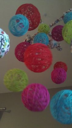 Multi Color Yarn & Fabric Ball Baby Mobile by inthe2doghouse, $60.00