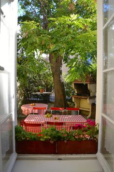 View from the lounge at Sainte-Hélène...pears on the table from a neighbour!  Photo by Marilyn Rendle
