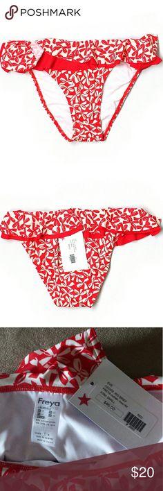 NWT Freya Red Bows Swimsuit Bottom Size XS           Retail $46  #NWT #red #white #redandwhite  #bow #swim #swimsuit #swimwear #bikini #bikinibottoms #ruffle                           M3 Freya Swim Bikinis