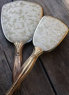 Vintage Hand Held Mirror and Brush Set Celluloid and by Gallery291, $35.00