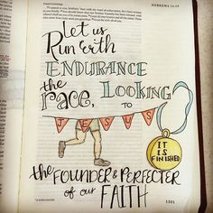 From Hebrews 12:1&2.  Love this metaphor since I've run many races.  Endurance is something that takes time and practice.  Keep my eyes on Jesus, endure, finish. #Biblejournaling #letterfortheLord #Hebrews