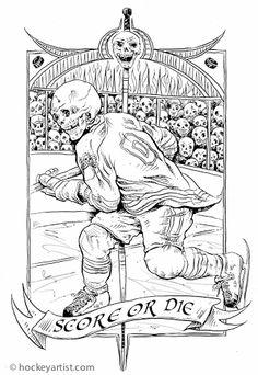 Sudden Death - Shoot to kill. Line art of skull hockey player
