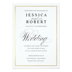 Elegant Wedding Invitation Elegant Script and Gold Border Wedding Invitation