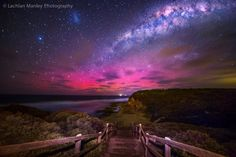 Aurora Australis and The Milky Way over Bells Beach, VIC, Australia on Oct 1