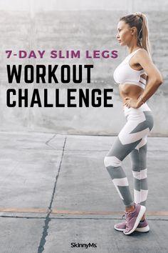 7-Day Slim Legs Workout Challenge Leg Workout Challenge, Beginner Leg Workout, Slim Legs Workout, 7 Day Workout, Best Workout Routine, Workout Routines For Women, Butt Workout, Leg Workouts, Summer Legs