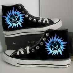 - The wolf that kills supernatural/blue/custom/hand painted /canvas//converse High Top Sneakers, Black High Top Converse, Blue Sneakers, Blue Shoes, Shoes Sneakers, Canvas Sneakers, Top Shoes, Galaxy Converse, Galaxy Shoes