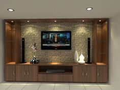 Amazing Wall TV Cabinet Designs 19220 units in living room tv stands Tv Unit Decor, Tv Wall Decor, Wall Tv, Room Decor, Modern Tv Cabinet, Modern Tv Wall Units, Tv Wand Design, Tv Shelf Design, Tv Cupboard Design