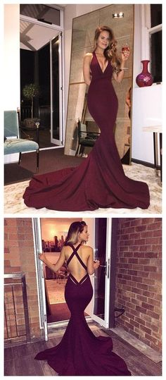 Gorgeous V-neck Long Mermaid Prom Dress with Train, Burgundy Long Prom Dress, 2017 Prom Dress, Mermaid Prom Gowns, Sexy Back Criss Cross Prom Dress