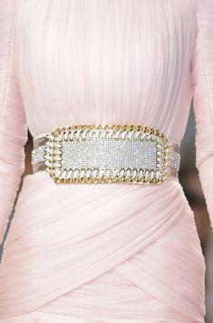 Balmain Spring 2014 - Details rhinestone belt on pink dress
