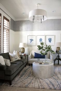 Alice Lane Home Collection | Living room with navy and blue accents