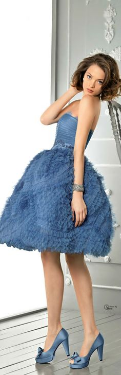 Above Knee Tulle Ball Gown Strapless Natural Waist Evening/ Cocktail Dress With Ruffles Sweet 16 Dresses, Pretty Dresses, Blue Dresses, Beautiful Dresses, Short Dresses, Bridesmaid Dresses, Prom Dresses, Wedding Dresses, Dress Prom