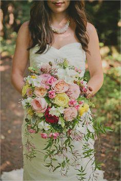 love the hanging green stuff--loose wedding bouquet Wedding Bells, Wedding Bride, Floral Wedding, Dream Wedding, Bridesmaid Bouquet, Wedding Bouquets, Wedding Dresses, Wedding Trends, Wedding Styles