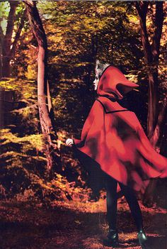 """Natalia Vodianova as Little Red Riding Hood in Marc Jacobs for the """"Into the Woods"""" Editorial Vogue September 2009 Fantasy Photography, Editorial Photography, Fashion Photography, Alas Marcus Piggott, Charles Perrault, Vogue Us, Natalia Vodianova, Red Hood, Bad Wolf"""