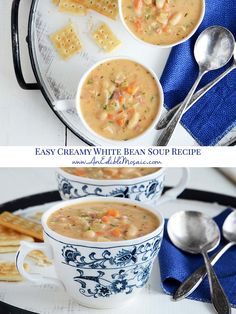 This Italian-inspired creamy White Bean Soup recipe is a hearty and satisfying chowder with white beans and vegetables. It's quick and easy enough to whip up on a weeknight! White Bean Soup, White Beans, Classic Stew Recipe, Bean Soup Recipes, Cheese Recipes, Soup And Sandwich, Creamy White, Main Meals, Casserole Dishes