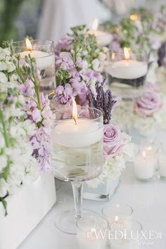 Purple wedding reception decor - A glam lavender wedding table with floating candles. Lavender Centerpieces, Purple Candles, Candle Centerpieces, Purple Centerpiece Wedding, Wedding Colors, Wedding Styles, Wedding Ideas, Wedding Themes, Trendy Wedding