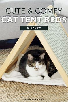 Christmas Cat Tent Collection - The Purring Saw // These Christmas cat beds are a great way to include your kitty in your Christmas decor while providing a soft and cozy space for napping. // PIN THIS and TAP TO SHOP! #catbeds #catfurniture Cat Lover Gifts, Cat Gifts, Cat Lovers, Christmas Cats, Christmas Decor, Cat Apartment, Diy Cat Bed, Cat Tent, Cat Pillow