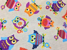 Large Owls Animal PRINT Fabric 100% cotton designer upholstery curtains, cushions Roman Blinds material/fabric supplies - Per Metre