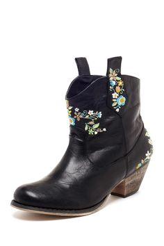 GC Shoes  Heidi Floral Embroidered Ankle Boot
