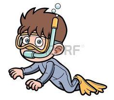 cartoon diver: Vector illustration of Snorkeling kid