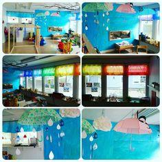 Symboliskt vatten förskolan. Vattenrum. regn. moln. regnbåge. paraply. preschool. reggio Emilia inspiration.
