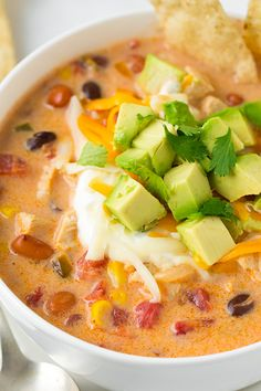 Creamy Chicken Tortilla Soup - my family LOVES this soup!