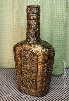 Декор предметов Аппликация Декор кружевом -3 Бутылки стеклянные Клей Краска Кружево Скорлупа яичная фото 7
