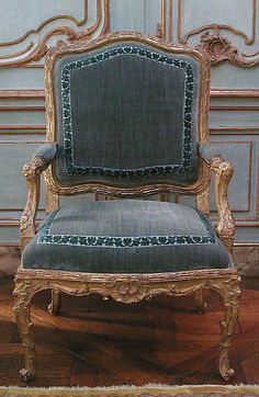 Armchair (one of a pair), French, ca 1730, Gilded beech, Dimensions: H. 39-1/2 x W. 25-5/8 x D. 22 in. (100.3 x 65.1 x 55.9 cm) METMUSEUM