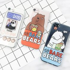 Cute Cartoon WE BARE BEARS soft cases for iphone 7 7plus funny animal bear panda phone case cover for iphone 6 6s plus 5 5s