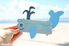 """Swimming by today with thisawesome Popsicle Stick Whaleidea! Using easy-to-find popsicle sticks, craft paint and cardstock – you too can make this beach-friendlycreature come to life within minutes! So let's grab those craft supplies, follow the full tutorial below and have a """"whale-of-a-good-time"""" making it! Happy crafting my friends!!! Supplies: * Jumbo Popsicle Sticks {3 …"""