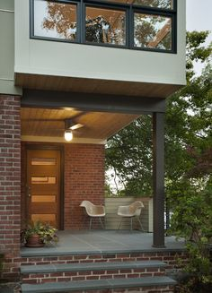 Exterior Design: Outdoor Furniture And Modern Front Doors Also Brick Wall In Modern Entry Architecture Exterior With Ceiling Fan And Wood Ceiling Plus Floor Tiles Modern Entrance, Modern Entry, Entrance Design, House Entrance, Modern Exterior, Exterior Design, Door Entry, Main Entrance, Entrance Ideas