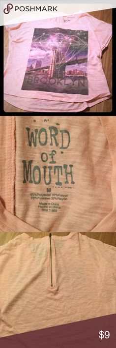 Size M word of Mouth brand Cute zipper back by word of mouth / GUC peach colored word of mouth Tops Crop Tops