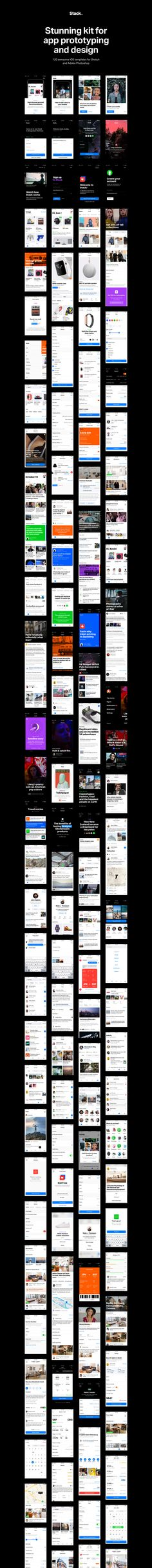 Stack contains more than 120 elaborate iOS templates in 6 categories that will meet any needs you have in the design process. How it works Fast prototyping Perfect instrument for creating an interactive prototype using popular online tools like Invision, Marvel, etc. Choose templates, upload it to one of these apps, mark any transition and …