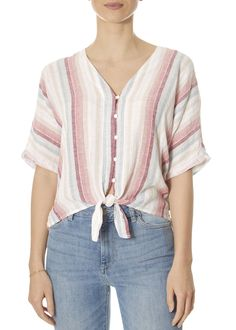 This is the 'Thea' Tropic Rainbow Striped Shirt by stunning brand Rails. Short sleeve, cropped, linen top with tie-front and gold Lurex threading detail. Leopard Dress, Pink Leopard, Ladies Tops, Striped Shorts, Yellow Dress, Short Sleeves, Rainbow, Clothing, Shirts