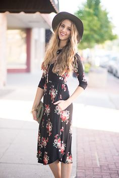 Carly Fit and Flare Floral Dress In Black - My Sisters Closet