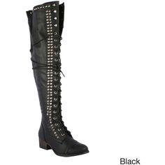 OPPO Breckelle's Women's 'Alabama-13' Over-the-knee Combat Boots ($48) ❤ liked on Polyvore featuring shoes, boots, black, over-the-knee boots, black over the knee boots, over the knee leather boots, black leather boots, over the knee combat boots and over the knee boots