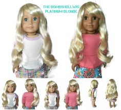 Our Bombshell girl doll wig in Platinum Blonde