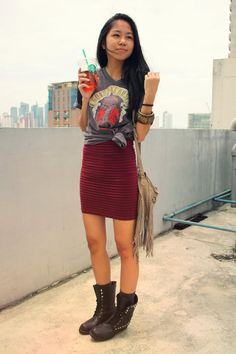 vintage tee, bodycon dress and combat boots