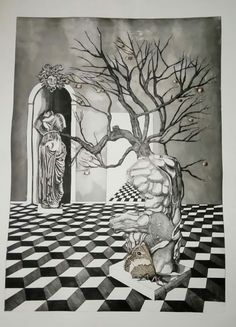 """The museum of the lotus eaters"", etching and aquatind, 70cm X 50cm,"