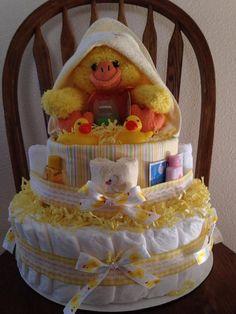 Duck Baby Shower, Baby Shower, Duck Shower, Baby Duck Diaper Cake, Duck Diaper Cake, Unisex Diaper Cake, Gender Neutal Duck Diaper Cake by GrannySmithTreasures on Etsy https://www.etsy.com/listing/600482966/duck-baby-shower-baby-shower-duck-shower
