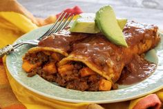 Say olé to paleo Mexican enchiladas with a spicy and sweet twist – a chorizo and sweet potato filling! Easy paleo recipe – links to paleo tortillas recipe