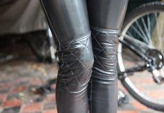 Latex moto jeans.