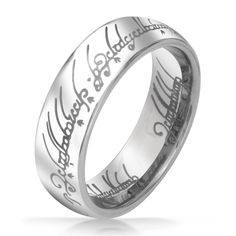 I WANT TO WEAR IT!!! Lord of The Rings Inspired Polished Silver Tungsten Ring Pendant 8mm