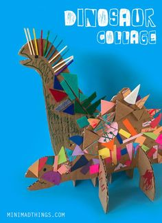 Fun collage dinosaurs that you can play with. head to the Mini Mad Things website for craft project ideas, craft kits and lots more. Dinosaur Activities, Dinosaur Crafts, Art Activities, Toddler Activities, Dinosaur Art Projects, Toddler Art, Toddler Crafts, Crafts For Kids, Kindergarten Art