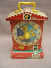 """Colorful Working 1960's Vintage 11"""" Fisher-Price Music Box Teaching Clock Toy"""